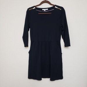 Boden Janie Solid Black Shoulder Zip Dress size 12